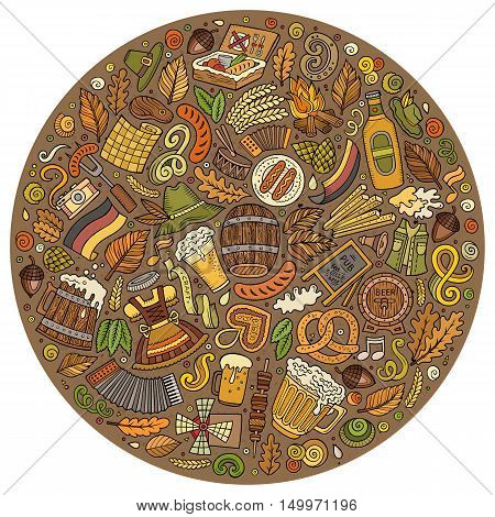 Colorful vector hand drawn set of Beer fest cartoon doodle objects, symbols and items. Round form composition