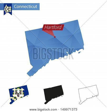 State Of Connecticut Blue Low Poly Map With Capital Hartford.