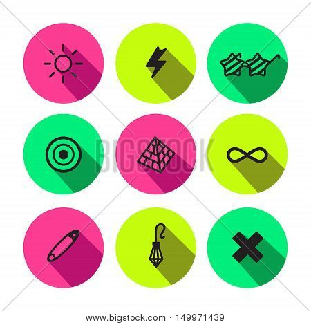 Rave punk and glam different symbols vector icon set in black and neon colors