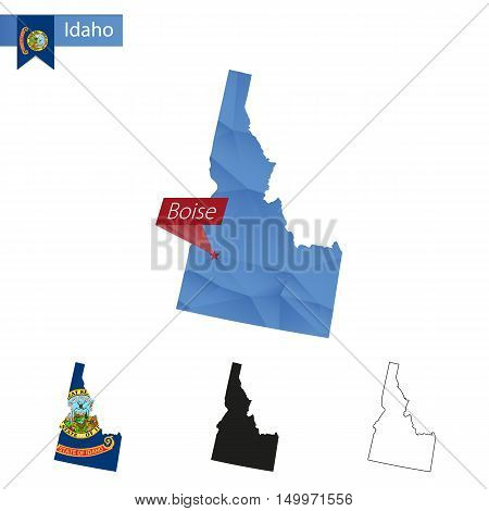State Of Idaho Blue Low Poly Map With Capital Boise.