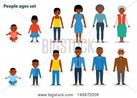 African american ethnic people generations at different ages. Woman and man african american ethnic aging - baby child teenager young adult old. Flat illustration