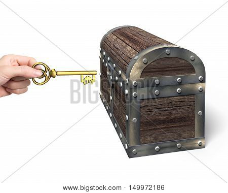 Hand Holding Euro Symbol Key Open Treasure Chest