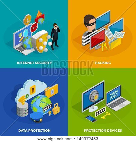 Data protection concept icons set with hacking symbols isometric isolated vector illustration