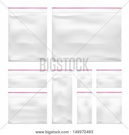 Set Of Transparent Blank Plastic Pocket Bag