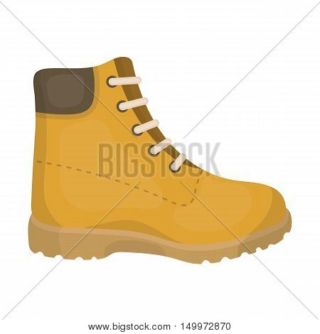Hiking boots icon in cartoon style isolated on white background. Shoes symbol vector illustration.