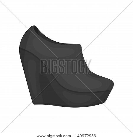 Wedge booties icon in cartoon style isolated on white background. Shoes symbol vector illustration.