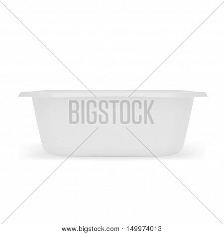 White Empty Blank  Plastic Food Tray Container Box. EPS10 Vector