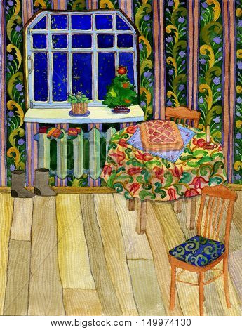 New Year greeting card. Watercolor hand drawn Christmas eve indoor illustration. Festive table with pie. Mittens felt boots.