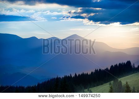 Blue Mountains At Sunset