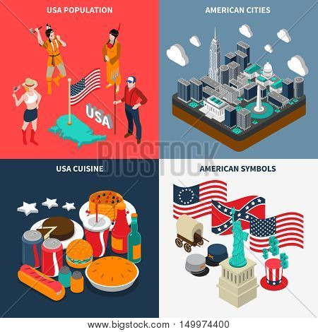 USA touristic concept icons set with cuisine and population symbols isometric isolated vector illustration