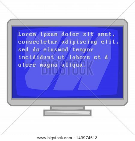 Blue computer screen with text icon in cartoon style isolated on white background vector illustration