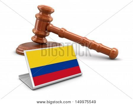 3D Illustration. 3d wooden mallet and Colombian flag. Image with clipping path
