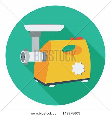 Electical meat grinder icon in flat style isolated on white background. Kitchen symbol vector illustration.