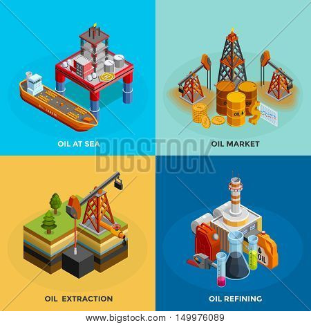 Oil industry 4 isometric icons square poster with sea platform refinery and market symbols isolated vector illustration