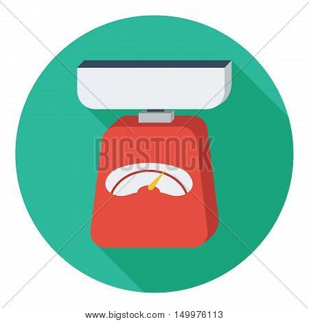 Kitchen scale icon in flat style isolated on white background. Kitchen symbol vector illustration.