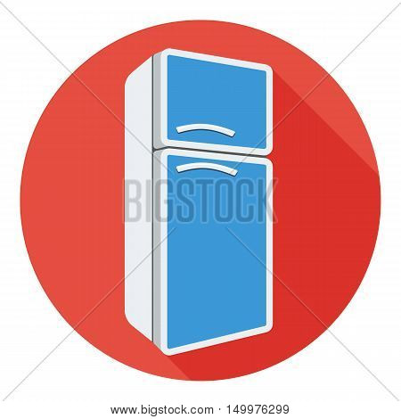 Refrigerator icon in flat style isolated on white background. Kitchen symbol vector illustration.