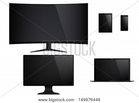 Set of isolated electronic gadgets. Desktop tablet pc tv mobile phone laptop. Vector illustration.