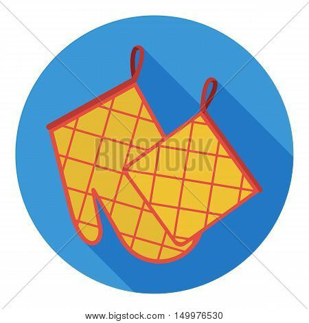 Oven glove and pot holder icon in flat style isolated on white background. Kitchen symbol vector illustration.
