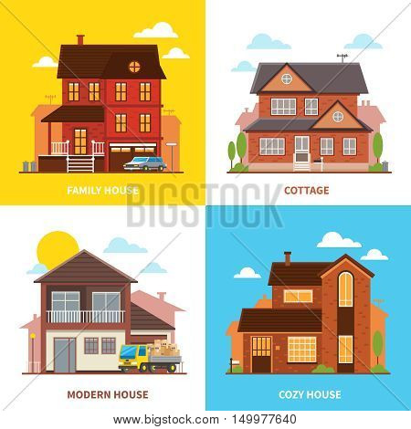 Cottage buildings 2x2 design concept set of modern cozy family houses flat vector illustration