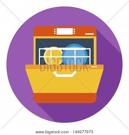 Dishwasher icon in flat style isolated on white background. Kitchen symbol vector illustration.