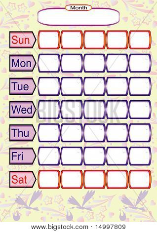 Monthly schedule for pregnant woman