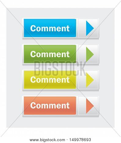 Comment. Set of web interface vector multicolor buttons.