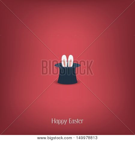Happy Easter postcard design. Bunny ears in magician or illusionist hat. Hiding rabbit, red background. Eps10 vector illustration.
