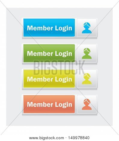Member login. Set of web interface vector multicolor buttons.