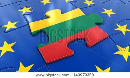 3D Illustration. Lithuanian flag Jigsaw as part of EU
