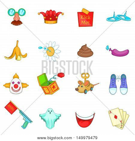 April fools day icons set in cartoon style. Prank playful actions set collection vector illustration
