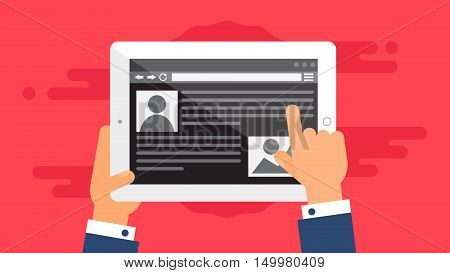 Web Template and Elements for site of blog and infographics on tablet or reader. Vector