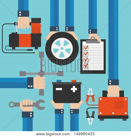 Car service and repairing equipment concept design flat .Vector illustration