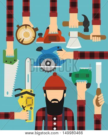 Worker and lumberjack design flat.Vector illustration card