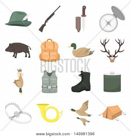 Hunting set icons in cartoon style. Big collection of hunting vector symbol.