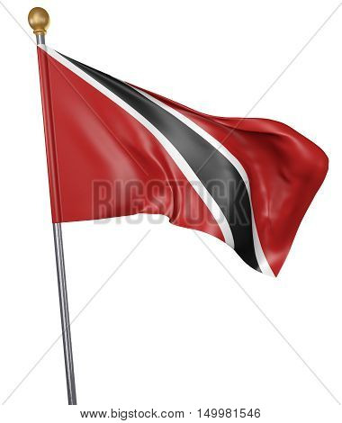 National flag for country of Trinidad and Tobago isolated on white background, 3D rendering