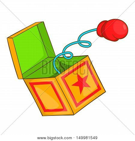 Fools day red boxing glove on spring icon in cartoon style isolated on white background vector illustration