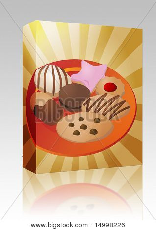 Software package box Assorted cookies and fancy sweet biscuits, illustration