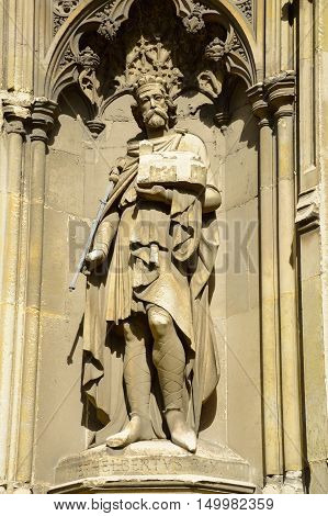 Statue of King Ethelbert on side of Canterbury Cathedral