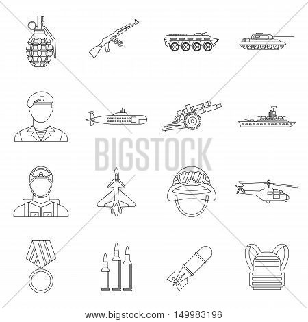 War icons set in outline style. Military equipment set collection vector illustration