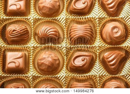 Closeup Of Variety Chocolate Pralines, Close Up Shot Of Chocolates Box, Assorted Box Chocolate, Box Of Chocolates With Many Variations, Bon Appetit, Sweet, Fresh And Tasty, Delicious, Yum-Yum, Yammy