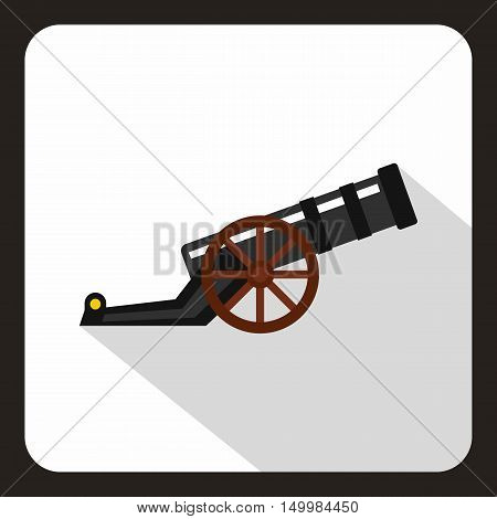 Ancient cannon icon in flat style on a white background vector illustration