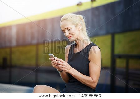 Tendered Woman Texting Friends