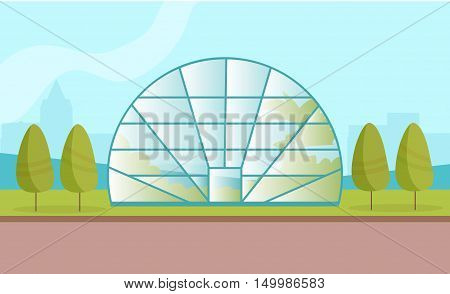 Greenhouse with plants. Vector illustration Isolated. Art