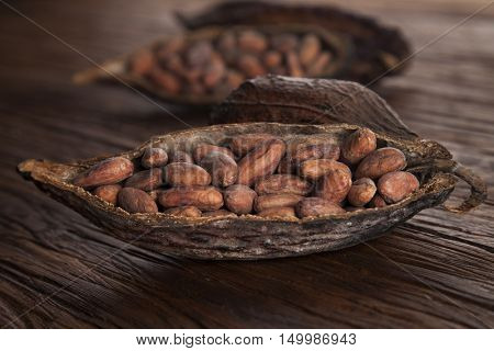 Cocoa pod on wooden table