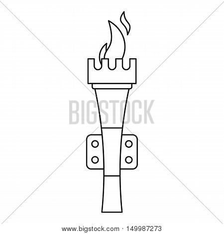 Torch with flame icon in outline style on a white background vector illustration