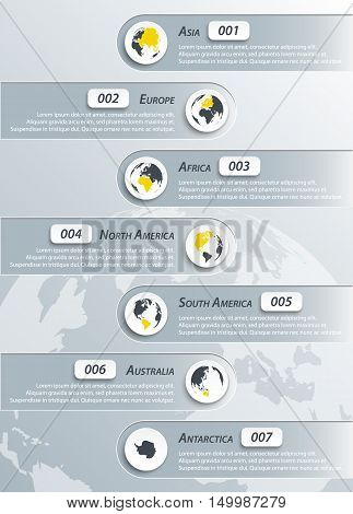 Continents infographic ( asia , europe , africa , northern america , southern america , australia , antarctica )