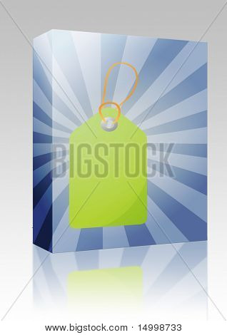 Software package box Empty sales promotion announcement label with radial background