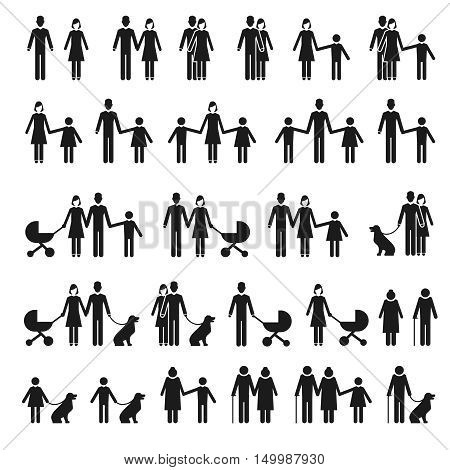 People and family icons. Man and woman, child and pet vector icons. Family father and mother with baby, illustration family with children