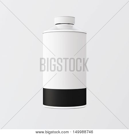 Closeup One Blank White Black Color Metal Jar Isolated Empty Background.Clean Cup Container Mockup Ready Use Corporate Design Message.Modern Style Drinks Food Storage.Square. 3d rendering