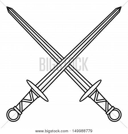 Medieval swords icon in outline style on a white background vector illustration